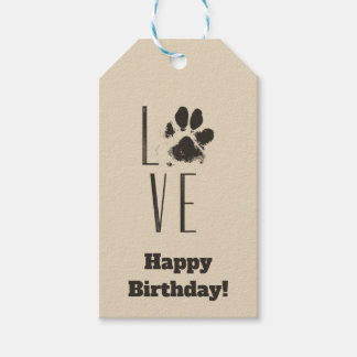 Love with Pet Paw Print Brown Grunge Typography Gift Tags