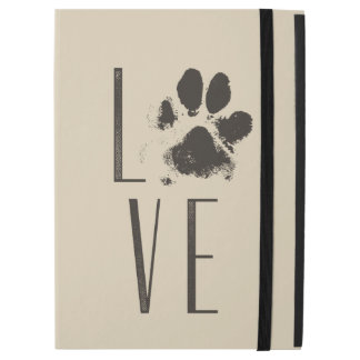 "Love with Pet Paw Print Brown Grunge Typography iPad Pro 12.9"" Case"