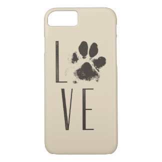 Love with Pet Paw Print Brown Grunge Typography iPhone 8/7 Case