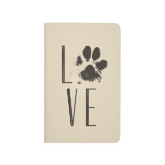 Love with Pet Paw Print Brown Grunge Typography Journal