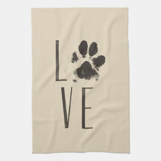Love with Pet Paw Print Brown Grunge Typography Kitchen Towel