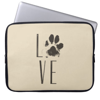 Love with Pet Paw Print Brown Grunge Typography Laptop Sleeve