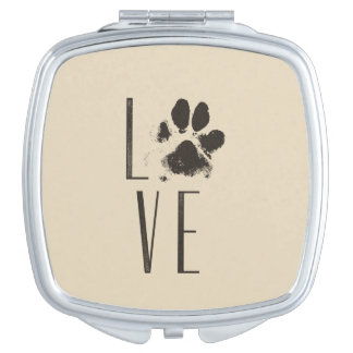 Love with Pet Paw Print Brown Grunge Typography Makeup Mirror