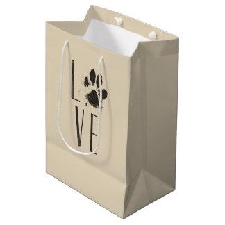 Love with Pet Paw Print Brown Grunge Typography Medium Gift Bag