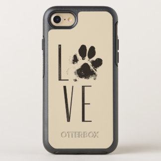 Love with Pet Paw Print Brown Grunge Typography OtterBox Symmetry iPhone 8/7 Case