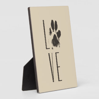 Love with Pet Paw Print Brown Grunge Typography Plaque