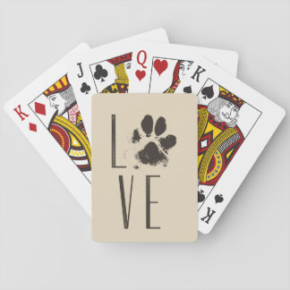 Love with Pet Paw Print Brown Grunge Typography Playing Cards
