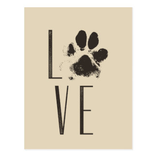 Love with Pet Paw Print Brown Grunge Typography Postcard