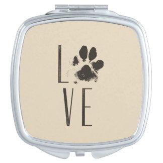 Love with Pet Paw Print Brown Grunge Typography Vanity Mirrors