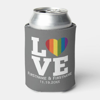 Love with Rainbow Heart Wedding Names Dates Can Cooler