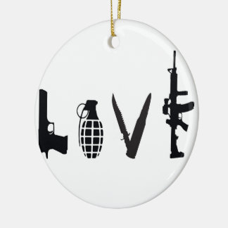 Love with Weapons Ceramic Ornament