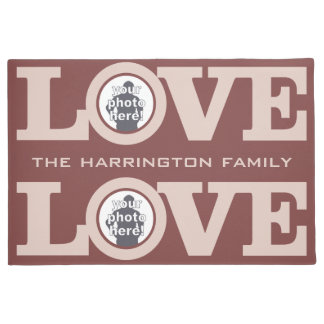 LOVE with YOUR 2 PHOTOS & TEXT custom floor mats