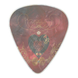 Love, wonderful hearts pearl celluloid guitar pick