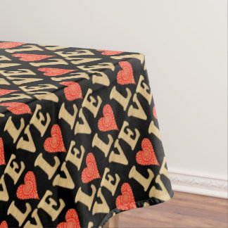 Love Word Art Modern Pretty Red Gold Lacy Heart Tablecloth