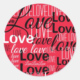 Love Word Art Pattern Classic Round Sticker