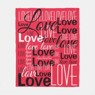 Love Word Art Pattern Fleece Blanket