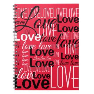 Love Word Art Pattern Spiral Notebook