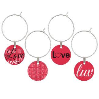 Love Word Art Pattern Wine Charm