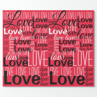 Love Word Art Pattern Wrapping Paper