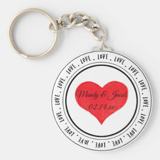 Love Word Art Red Heart Personalized Keychain