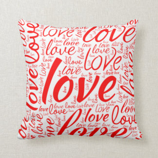 Love Word Cloud Art | Valentine Classic Red White Throw Pillow