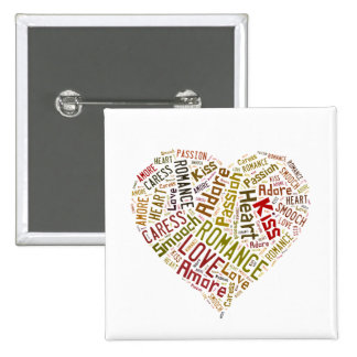 Love Word Cloud 2 Inch Square Button