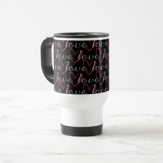 Love Word Heart Pattern Black Romantic Trendy Cool Travel Mug