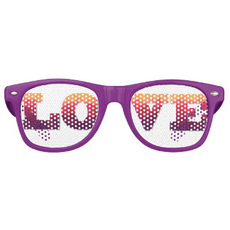 Love word in trendy ombre violet, pink, yellow. retro sunglasses