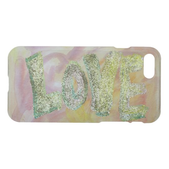 Love Word Inspirational Glitter Art iPhone 7 Cases