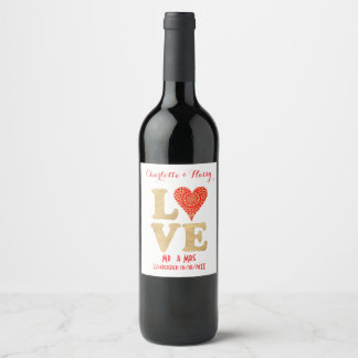 Love Word Red Gold Lacy Heart Mr&Mrs Personalized Wine Label