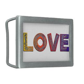 LOVE WORDS RECTANGULAR BELT BUCKLE