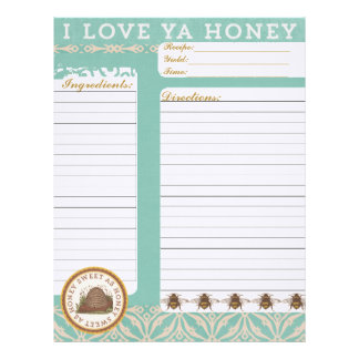 Love Ya Honey Recipe Inserts Letterhead Template
