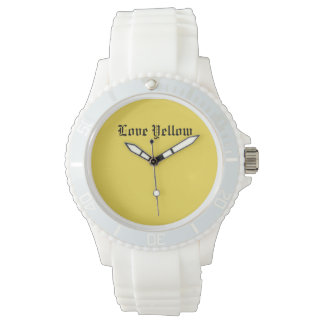 Love Yellow Custom Sporty White Silicon Watches