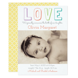 LOVE Yellow Quatrefoil - Birth Announcement