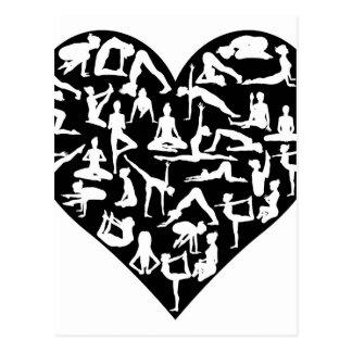 Love Yoga Poses Silhouettes Heart Postcard