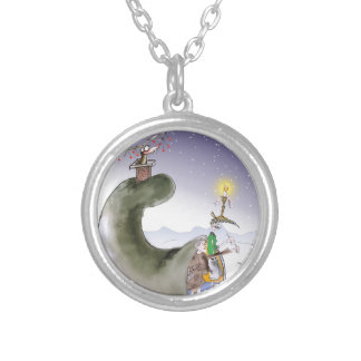 love yorkshire happy christmas silver plated necklace