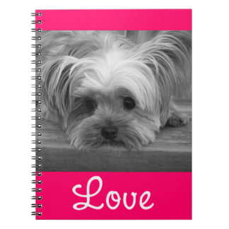 Love Yorkshire Terrier Puppy Dog Pink Notebook