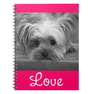 Love Yorkshire Terrier Puppy Dog Pink Notebook