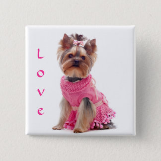 Love Yorshire Terrier Puppy Dog Pin / Button