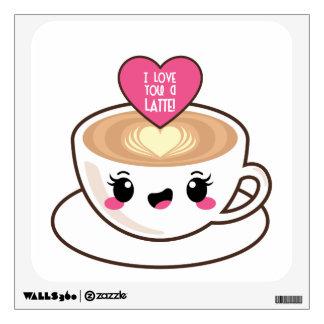 Love You A Latte Emoji Kawaii Wall Decal