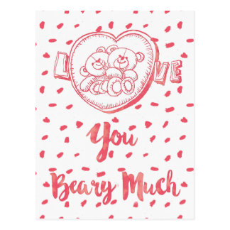 Love You Beary Much|Funny Bear Valentine Postcard