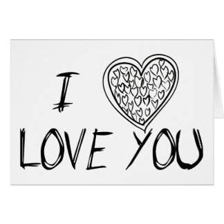 Love You Black & White Hearts - Wedding Card