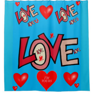Love you blue valentine's day shower curtain