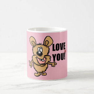 Love you cartoon character with hearts coffee mug