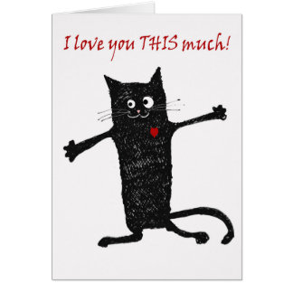 Love you, crazy cat, humor. card