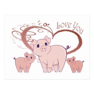 Love You, Cute Piggies Art Postcard