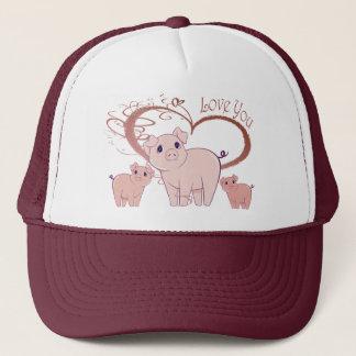 Love You, Cute Piggies Art Trucker Hat