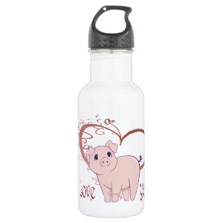 Love You, Cute Piggy Art 532 Ml Water Bottle