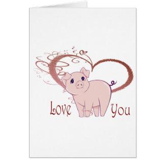Love You, Cute Piggy Art Card