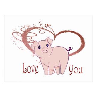 Love You, Cute Piggy Art Postcard